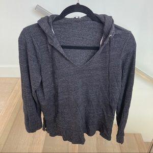Splendid Grey Hooded V Neck Sweater
